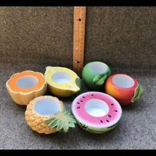 Set Of 6 Partylite Fruit Splash Ceramic Tea Light Votive Candle Holders