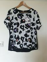 Oasis Abstract Floral Chiffon Relaxed Fit Blouse Top Size 16
