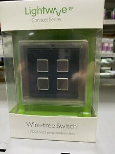 Lightwave L22 Smart 2 Gang Dimmer Wall Switch 200W - Stainless Steel