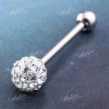 1pc Stainless Steel Czech Crystal Ball Barbell Tongue Ring Piercing 14G