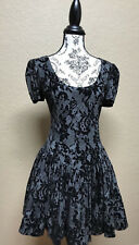 Betsey Johnson Black and Grey Lace Flaried Skirt Skater Goth Dress Size L/XL
