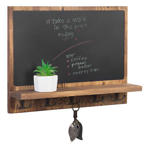 MyGift 16 Inch Dark Brown Wall Mounted Chalkboard with Shelf and 10 Metal Hooks