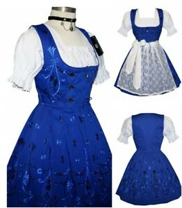 Sz 24 2XL Dirndl Oktoberfest German Dress Short Blue Waitress Hostess Holiday