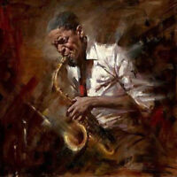 ZWPT561 playing music black people portrait hand painted art oil painting canvas