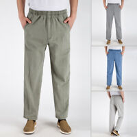 Men's PLUS SIZE Cotton Linen Cargo Pants baggy pants Drawstring Elastic Waist