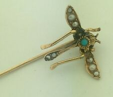 Beautiful Vintage Antique 14k Yellow Gold Pearl Turquoise Bug Stick Pin