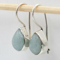Aquamarin Ohrhänger echt Silber 925 Ohrringe Tropfen Sterlingsilber  hvts