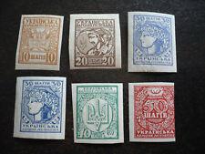 Stamps - Ukraine - Scott# 1, 2, 3, 3a, 4, 5