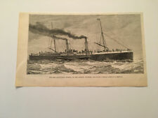 K35) Steamboat Invicta of London Chatham And Dover Railway 1882 Engraving