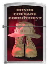 US Navy Honor Courage Commitment Zippo MIB Brushed Chrome  2011