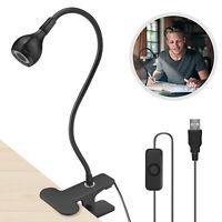 USB Flexible Reading LED Light Clip-on Beside Bed Desk Table Lamp Book Night