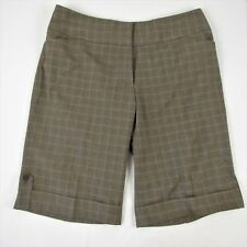 Lane Bryant Brown Plaid Walking Shorts Size 18 Cuffs High Rise Career Bermuda