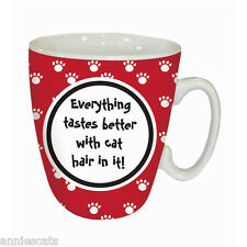 Everything Tastes Better With Cat Hair In It! Red Mug Cat Lovers Quality Gift