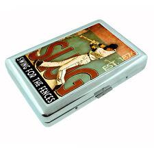 Vintage Baseball D16 Silver Cigarette Case / Metal Wallet Card Money Cash Holder