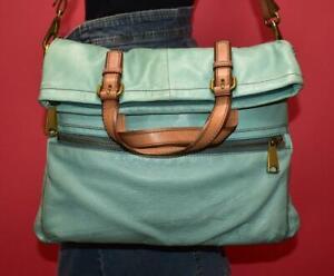 FOSSIL EXPLORER FOLD OVER Aqua Leather Shoulder Convertible Crossbody Purse Bag