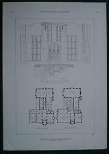 1920s ARCHITECTURE PRINT UNIVERSITY OF MICHIGAN ARBOR POND & POND PLAN FIREPLACE