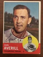 EARL AVERILL 1962 TOPPS AUTOGRAPHED SIGNED AUTO BASEBALL CARD 139 PHLLIES