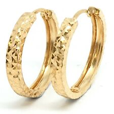 18K Yellow Gold Diamond Cut Hoop Earrings 3.06 Grams