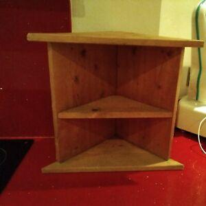"Vintage Pine Corner Shelf Solid Wall Corner Unit 16"" high.17"" long.8"" deep."