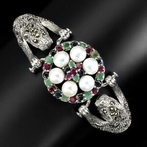 Round Ruby Emerald Sapphire Pearl Marcasite 925 Sterling Silver Tiger Bracelet