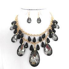 "18"" Adjustable Black Glass Teardrop Pendant Necklace With Earrings"