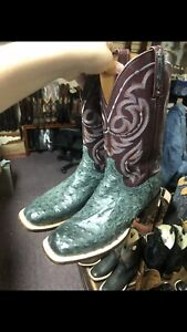 Lucchese BOOTS SIZE 10EE WIDE GREY Full Quill Ostrich Skin Cowboy Style# CL1081