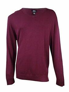 $60 Alfani Mens Ribbed Trim Long Sleeve Casual Shirt Maroon Size XL