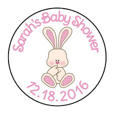 "24 PERSONALIZED PINK BUNNY BABY SHOWER FAVOR LABELS ROUND STICKERS 1.67"" *"