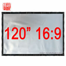 "120"" 16:9 Portable Gray Silver Projection Screen Curtain for 3D Projector Beamer"