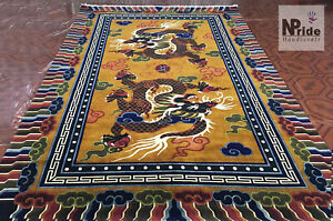 Tibetan Dragon Rug Carpet - Wool - Handknotted - Multicoloured-  Made to Order