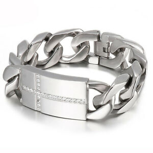 Heavy Cool 316L Stainless Steel Curb Cuban Link Chain Wristband Braclet for Men