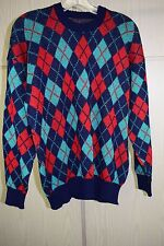 Vintage '70s Scottish Argyle Wool Crewneck Sweater Men's Large
