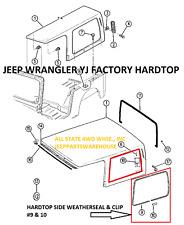 Jeep Wrangler YJ 87-95 Hardtop Quarter 1/4 Window Trim Moulding with Finish Clip