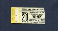 1980 Zz Top Expect No Quarter Tour concert ticket stub Terre Haute La Grange