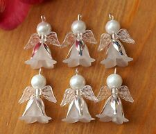 8x White And Silver Angel Charms Pendant Wings Christmas Tree Decoration Filler