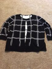 Chaps Women's Black White Checked Half Sleeve Sweater Cardigan Medium