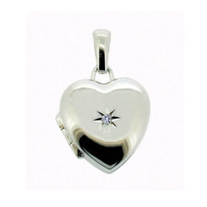 925 STERLING SILVER DIAMOND HEART PICTURE LOCKET WITH CHAIN & ENGRAVING OPTIONS