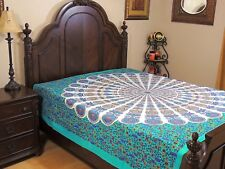 Seafoam Green Peacock Tail Fan Cotton Bedding India Wall Tapestry Bed Sheet Full