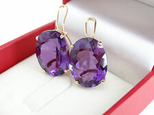 Oval Cut Amethyst Omega Back French Clip 14k Yellow Gold 15x20 Earrings