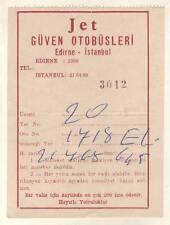 Turquía billete de autobús ticket Edirne-Estambul 1968-used ticket Biglietto