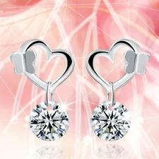 Europe and America New Fashion 925 Silver Butterfly Heart Earrings Fine jewelry