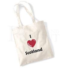 'I love (Heart) Scotland' Cotton Canvas Reusable Shopping Tote Bag