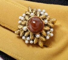 Vintage Hollycraft Rust Bullet Shape Bead Faux Pearl Dome Cocktail Ring Size 8
