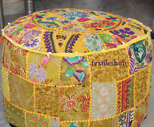Indian Handmade Pouf Cover Cotton Ottoman Yellow Patchwork Floor Sofa Home Decor