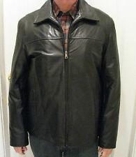 COLLEZIONE Mens Black Leather Jacket Size Size L