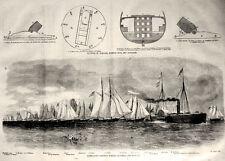 Civil War Porter's Mortar Schooners Flotilla Diagrams US Navy Vintage Print