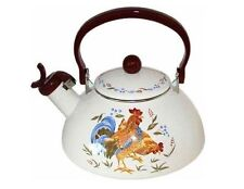 Corelle 2.2 Qt COUNTRY MORNING Sandstone Metal WHISTLING TEA KETTLE Rooster *NEW