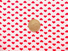 WHITE WITH SMALL RED HEARTS & PIN DOTS - 100% COTTON FABRIC F.Q.
