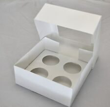 4 Hole Cupcake Cup Cakes Clear Window White Boxes Box 6 cm Diameter set of 2