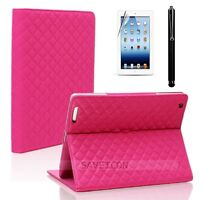 For iPad 4 4th 3&2 Leather Folio Case Smart Cover Stand CH H Pink w Gift Set